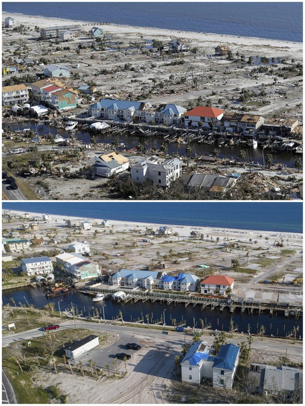 This combination of photos shows homes in Mexico Beach, Fla., on Oct. 12, 2018, top, in the aftermath of Hurricane Michael, and the same location on May 3, 2019. (AP Photos)