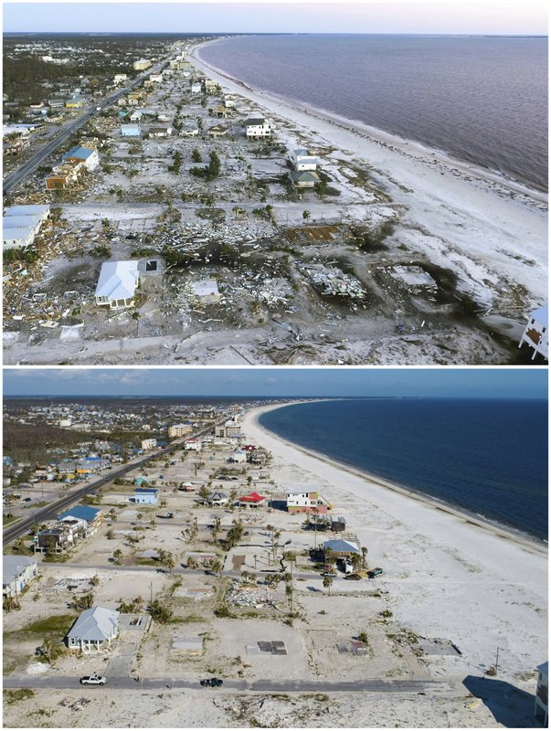 This combination of photos shows the coastline of Mexico Beach, Fla., on Oct. 12, 2019, top, in the aftermath of Hurricane Michael and the same location on May 3, 2019. (AP Photos)