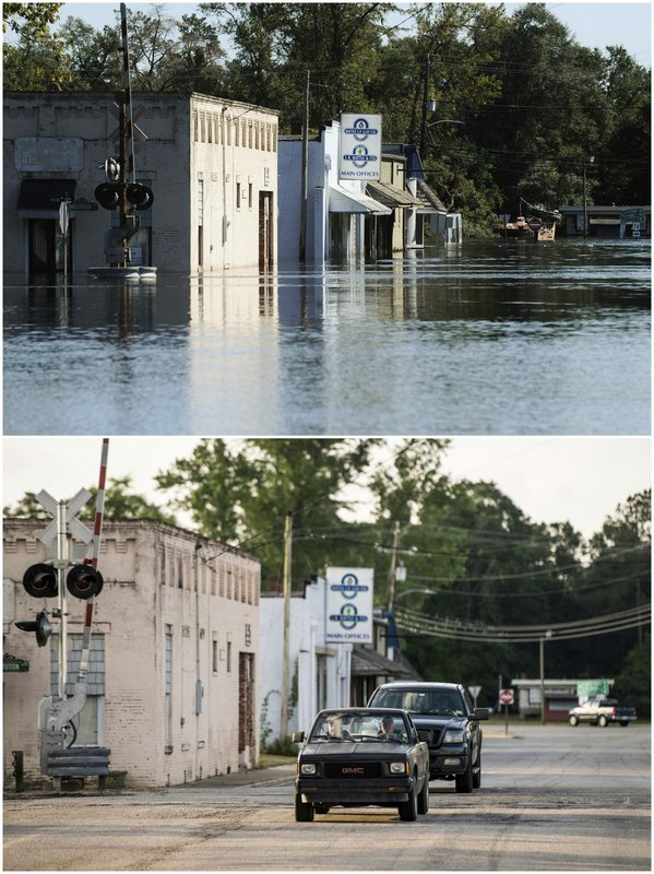 This combination of photos shows downtown Nichols, S.C, on Oct. 11, 2016, top, after Hurricane Matthew in 2016, and the same location on May 13, 2019. (AP Photos)