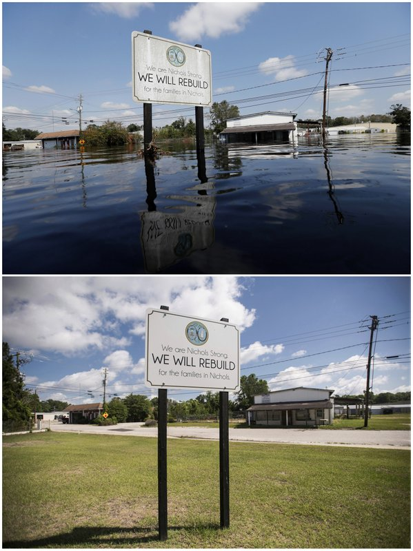 This combination of photos shows a sign on Sept. 21, 2018, top, in the aftermath of Hurricane Florence, commemorating the rebuilding of the town of Nichols, S.C., and the same location on May 13, 2019. (AP Photos)
