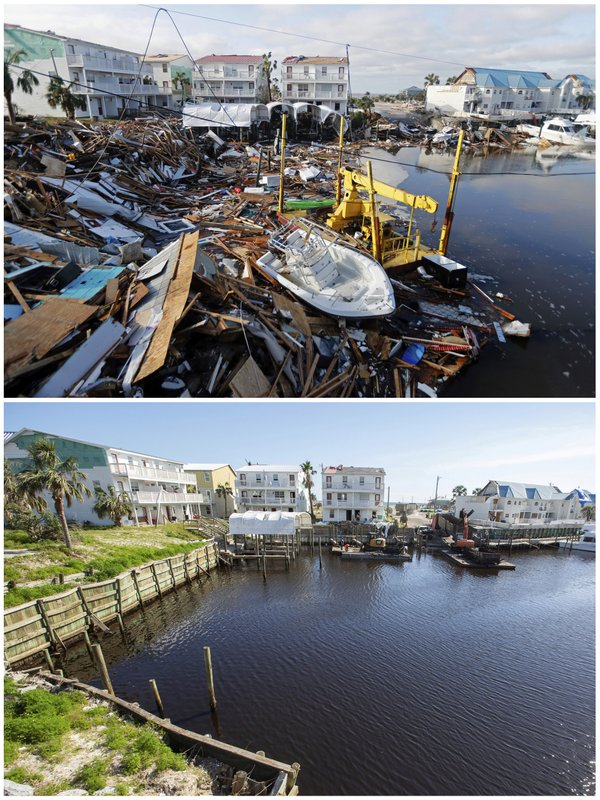 In this combination of photos, homes sit along a canal on Oct. 11, 2018, top, in the aftermath of Hurricane Michael, and on May 3, 2019, in Mexico Beach, Fla. (AP Photos)