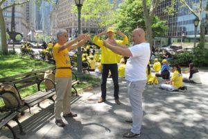 Learning meditation at Foley Square in Manhattan