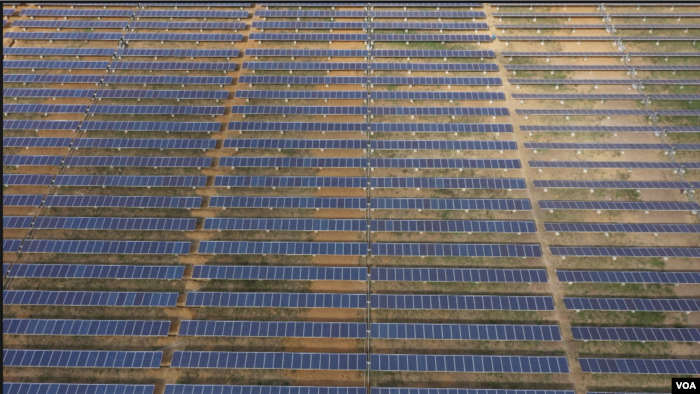About 7,000 solar panels are seen at this power plant 50 kilometers northwest