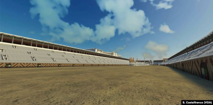 Another view of Rome's Circus Maximus reconstructed, with its tiered seat