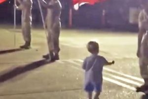 Two-year-old goes viral after walking up to U.S. Troops to shake their hands