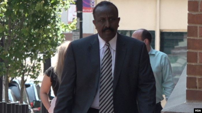 Yusuf Abdi Ali, a former colonel in the Somali National Army, leaves the cour