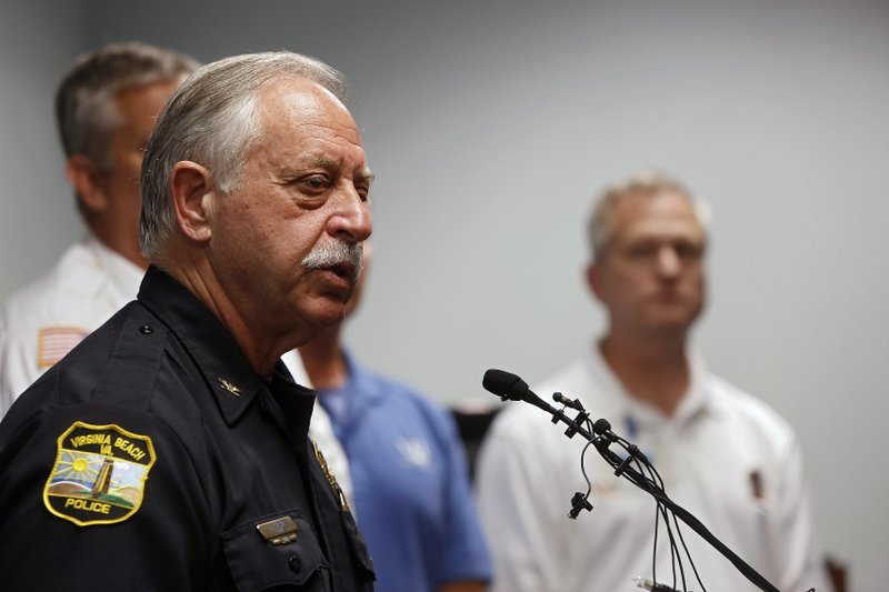 Virginia Beach Chief of Police James Cervera speaks during a press conference about a shooting that left eleven dead and six injured at the Virginia Beach Municipal Center on Friday, May 31, 2019 in Virginia Beach, Va. A longtime city employee opened fire at a municipal building in Virginia Beach on Friday, killing 11 people before police shot and killed him, authorities said. Six other people were wounded in the shooting, including a police officer whose bulletproof vest saved his life, said Virginia Beach Police Chief James Cervera. (Kaitlin McKeown/The Virginian-Pilot via AP)