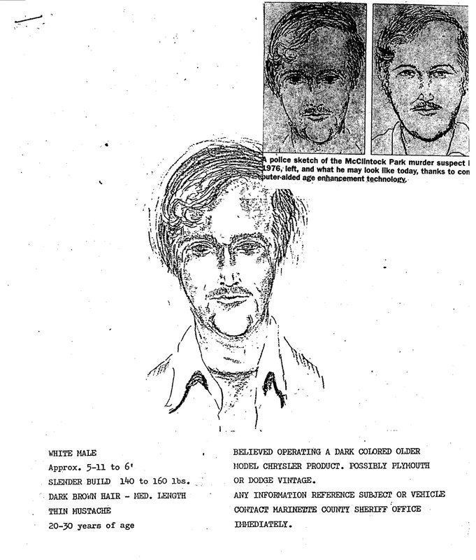 In this 1976 police sketch provided by the Marinette County Sheriff's Office is the initial police sketch of a suspect shortly after the 1976 murders of David Schuldes and Ellen Matheys. Prosecutors said they used DNA and genetic genealogy to connect Raymand Vannieuwenhoven to the killings 43 years ago of the young couple. Vannieuwenhoven, 82, a widower and father of five grown children had lived quietly for two decades among the 800 residents of Lakewood, a northern Wisconsin town about 25 miles southwest from the site of the murders. Now he was being held on a $1 million bond. (Marinette County Sheriff via AP)
