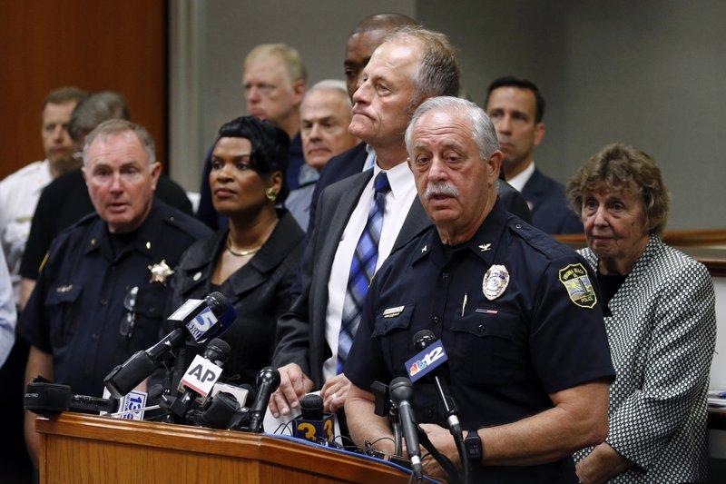 Virginia Beach Police Chief James Cervera speaks at a news conference on a shooting at a municipal building, Saturday, June 1, 2019, in Virginia Beach, Va. Authorities identified the suspect as DeWayne Craddock, a longtime city employee who opened fire at the building Friday before police shot and killed him, authorities said. (AP Photo/Patrick Semansky)