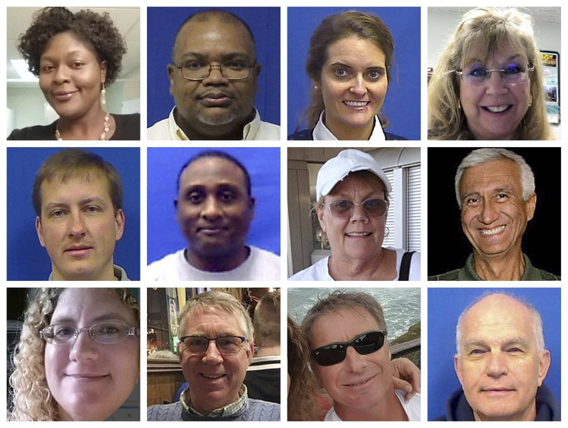 This combination of photos provided by the City of Virginia Beach on Saturday, June 1, 2019 shows victims of Friday's shooting at a municipal building in Virginia Beach, Va. Top row from left are Laquita C. Brown, Ryan Keith Cox, Tara Welch Gallagher and Mary Louise Gayle. Middle row from left are Alexander Mikhail Gusev, Joshua O. Hardy, Michelle