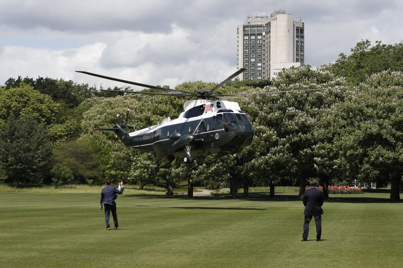 Marine One, with President Donald Trump aboard, arrives at Buckingham Palace, Monday, June 3, 2019, in London. (AP Photo/Alex Brandon)