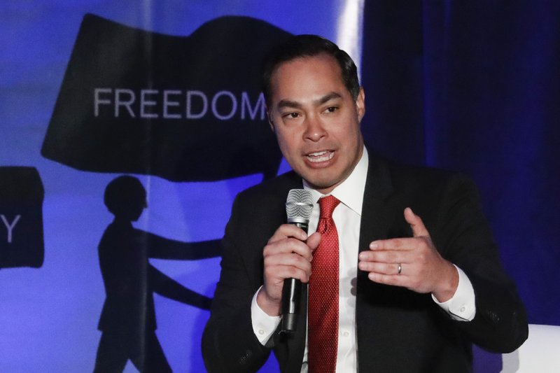 Democratic presidential candidate former U.S. Secretary of Housing and Urban Development Julian Castro speaks during a campaign event at the Unity Freedom Presidential Forum Friday, May 31, 2019, in Pasadena, Calif. (AP Photo/Chris Carlson)