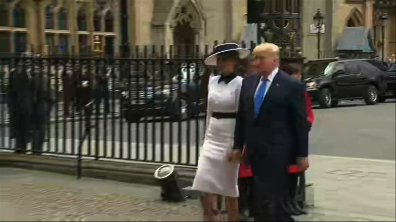 President Donald Trump on Monday laid a wreath at the Grave of the Unknown Warrior in London's Westminster Abbey. (June 3)
