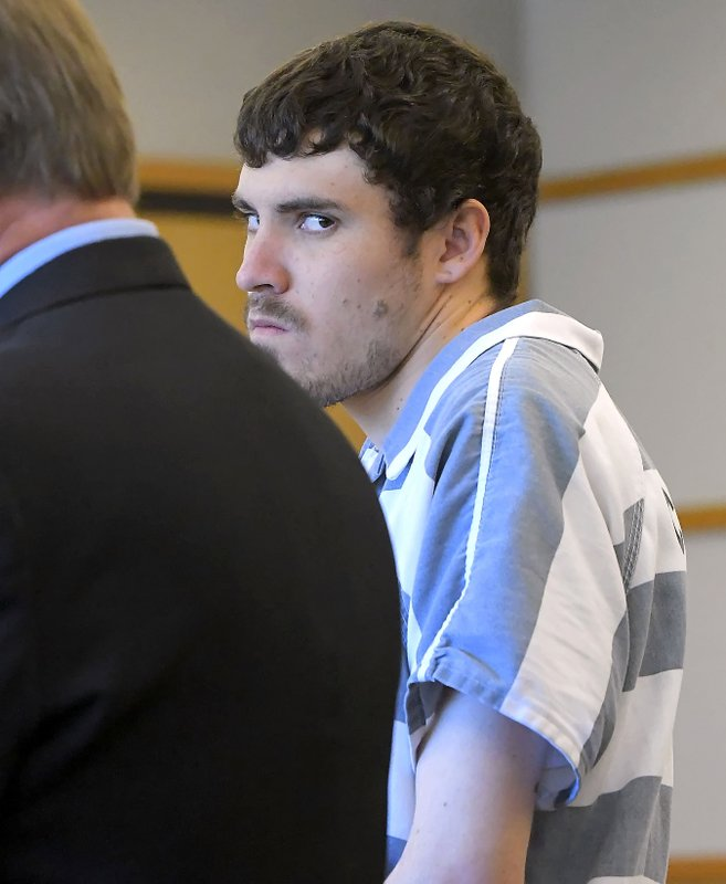 Alex Whipple appears in 1st District Court for his initial appearance Monday, June 3, 2019, in Logan, Utah. Whipple, a Utah man charged with kidnapping and killing his 5-year-old niece, appeared before in court for the first time on murder and other charges. Twenty one-year-old Whipple was handcuffed and silent as a judge read out the charges he faces, including aggravated murder and child kidnapping. He was denied bail. (Eli Lucero/Herald Journal, via AP, Pool)
