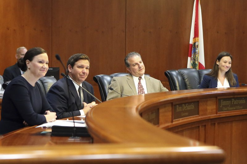 Gov. Ron DeSantis, second from left, presides over the Florida cabinet meeting consisting of Attorney General Ashley Moody, left, Chief Financial Officer Jimmy Patronis, and Commissioner of Agriculture Nikki Fried, far right, Tuesday June 4, 2019, in Tallahassee, Fla. (AP Photo/Steve Cannon)
