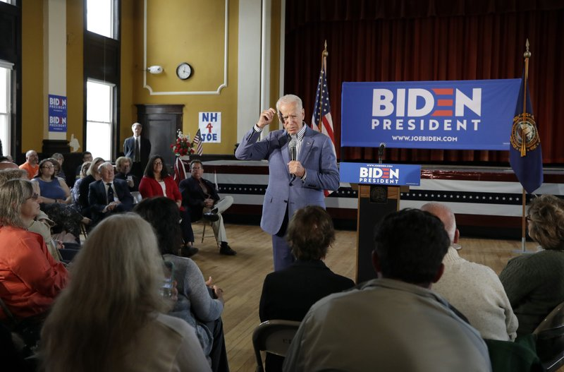 Former vice president and Democratic presidential candidate Joe Biden speaks during a campaign event, Tuesday, June 4, 2019, in Berlin, N.H. (AP Photo/Elise Amendola)
