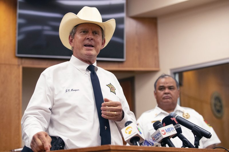 Nueces County Sheriff J.C. Hooper speaks at Robstown City Hall during a press conference following a wreck early Wednesday, June 5, 2019 just outside of Robstown, Texas that left multiple migrants dead and injured and three in the custody of Border Patrol on Wednesday, June 5, 2019.   (Courtney Sacco/Corpus Christi Caller-Times via AP)