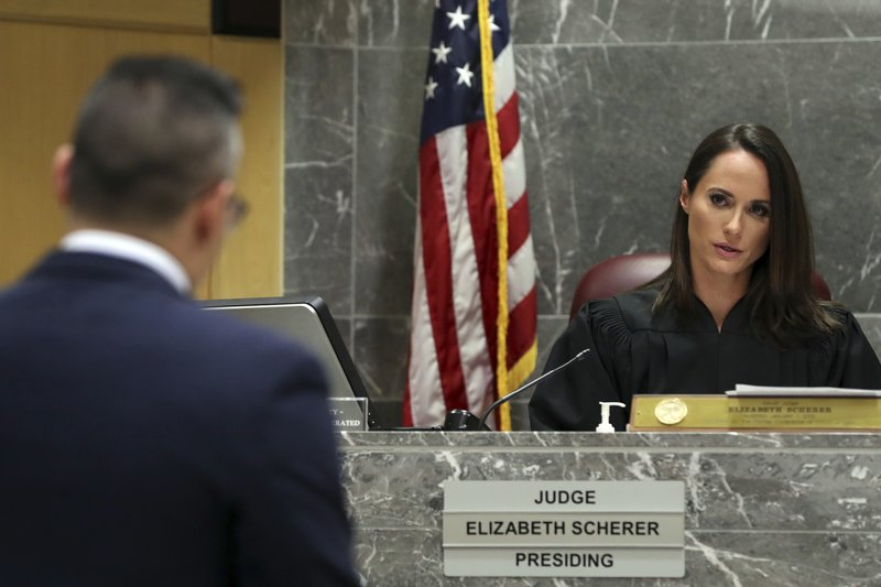 Defense attorney David Sobel argues in front of Broward Circuit Judge Elizabeth Scherer during a hearing for former Broward Sheriff's Office deputy Scot Peterson at the Broward County Courthouse in Fort Lauderdale, Fla., Thursday, June 6, 2019. (Amy Beth Bennett/South Florida Sun-Sentinel via AP, Pool)