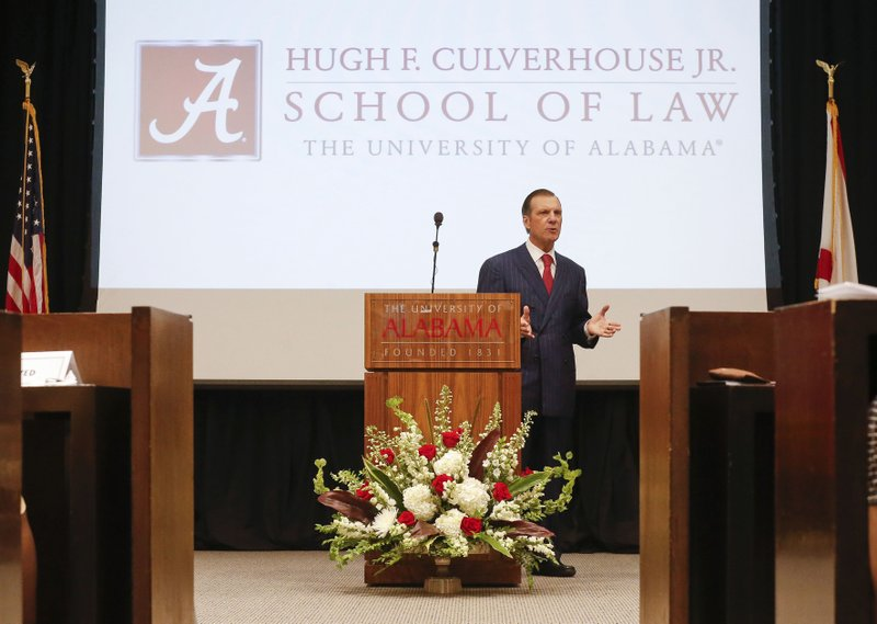 In this Sept. 20, 2018, photo, Hugh F. Culverhouse Jr., who pledged a $26.5 million donation to the University of Alabama law school, speaks during an event in Tuscaloosa, Ala. The university appears poised to reject the donation by Culverhouse, who recently called on students to boycott the university over the state's new abortion ban. (Gary Cosby Jr./The Tuscaloosa News via AP)