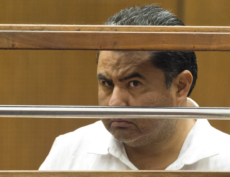 RESENT THEY ARE NOT POOL PHOTOS-Naasón Joaquín García, the leader of fundamentalist Mexico-based church La Luz del Mundo, appears in Los Angeles County Superior Court on Wednesday, June 5, 2019, before Judge Francis Bennett on charges of human trafficking and child rape. (AP Photo/Damian Dovarganes)