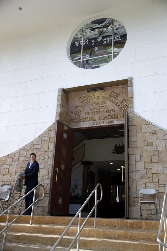 The entrance to a La Luz del Mundo church branch is seen Thursday, June 6, 2019, in Los Angeles. The leader and self-proclaimed apostle of La Luz del Mundo, a Mexico-based church with branches in the U.S. that claims over 1 million followers, has been charged with human trafficking and child rape, California officials announced Tuesday.(AP Photo/Marcio Jose Sanchez)