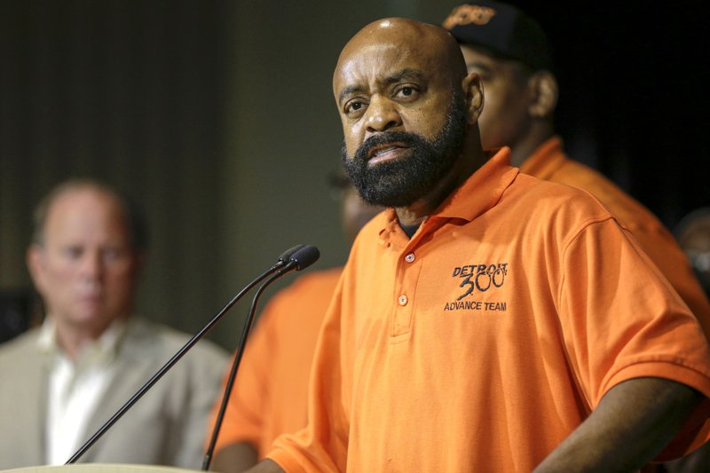 Martin Jones, spokesperson for Detroit 300 community action team, speaks during a press conference, Friday, June 7, 2019, at the Detroit Police Headquarters in Detroit, addressing the police response to a possible serial killer. Investigators believe a