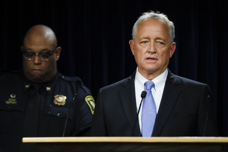 Hamilton County Prosecutor Joseph Deters, right, speaks alongside Cincinnati Police Chief Eliot Isaac, left, during a news conference to discuss cases linked to Samuel Little, Friday, June 7, 2019, in Columbus. Prosecutors have linked Little to the 1981 slaying of Anna Stewart, abducted in Cincinnati. Her body was dumped near Columbus. (AP Photo/John Minchillo)