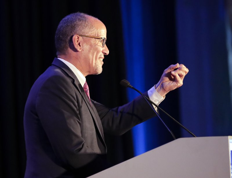 Tom Perez, chair of the Democratic National Committee speaks during the Florida Democratic Party state conference, Saturday, June 8, 2019, in Orlando, Fla. (AP Photo/John Raoux)
