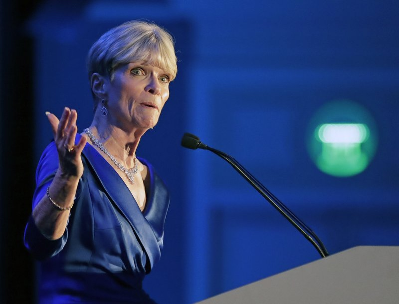 Terrie Rizzo, chair of the Florida Democratic Party speaks at the Florida Democratic Party state conference, Saturday, June 8, 2019, in Orlando, Fla. (AP Photo/John Raoux)