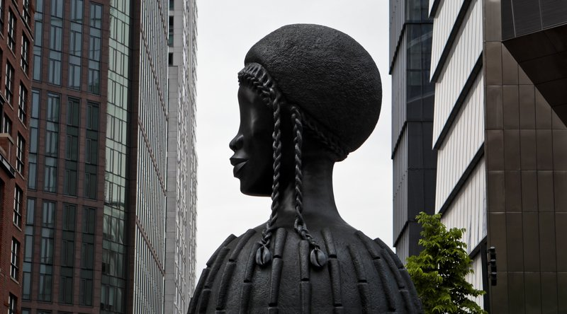 In this May 29, 2019 photo, a bronze bust of a Black woman entitled