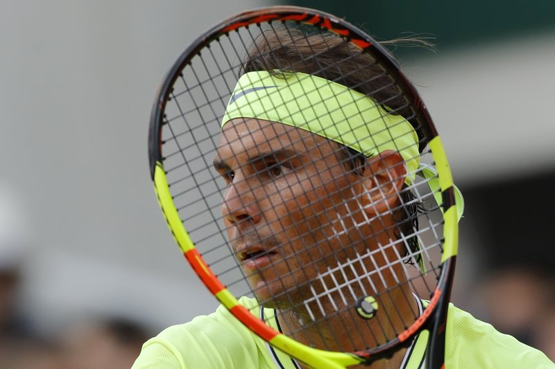 Spain's Rafael Nadal waits to returns a shot against Austria's Dominic Thiem during the men's final match of the French Open tennis tournament at the Roland Garros stadium in Paris, Sunday, June 9, 2019. (AP Photo/Michel Euler)