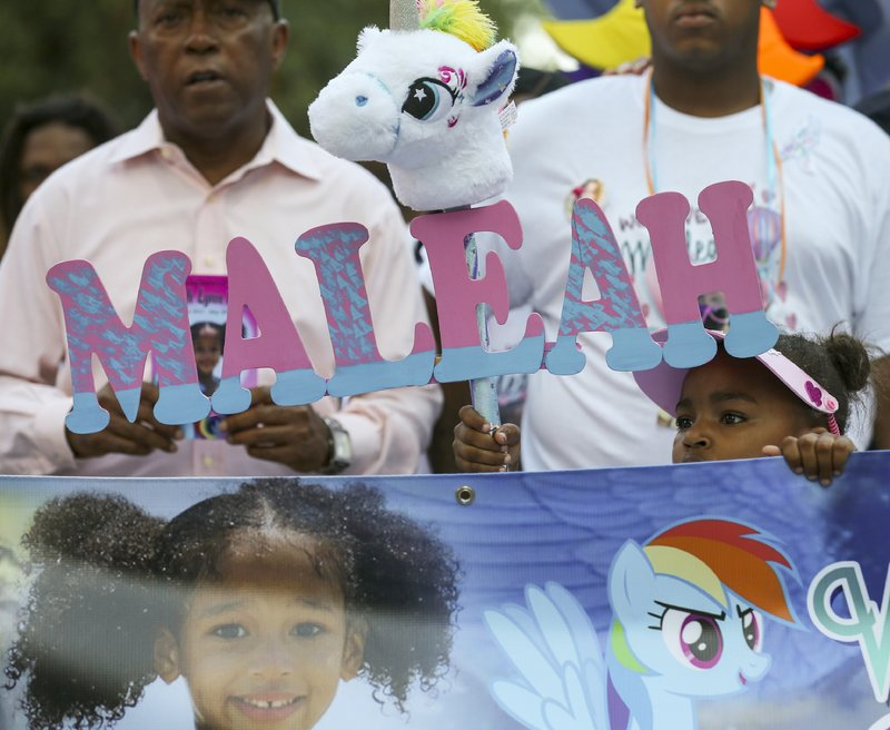 Thousands of people marched from City Hall to the Harris County Jail in honor of Maleah Davis, the four-year-old girl who went missing in early May and whose body was found tossed along an Arkansas roadside last week, on Sunday, June 9, 2019, in Houston. The city declared today