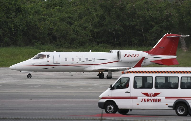The small ambulance plane carrying former Boston Red Sox slugger David Ortiz prepares to take off at the International Americas Airport in Santo Domingo, Dominican Republic, Monday, June 10, 2019. Doctors removed Ortiz's gallbladder and part of his intestine after the beloved former Boston Red Sox slugger known as Big Papi was ambushed the previous day by a gunman at a bar in his native Dominican Republic, a spokesman said Monday. (AP Photo/Juan Miguel Pena)