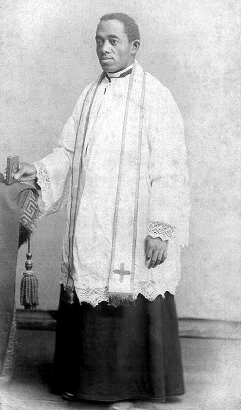 This 1886 photo courtesy of the Brenner Library, Quincy University in Quincy, Ill., shows Quincy's Father Augustine Tolton, following his ordination on Holy Saturday of that year. Pope Francis has positioned for sainthood a former slave and the first known black priest in America. The pontiff on Wednesday, June 12, 2019, declared the Rev. Augustine Tolton of Quincy