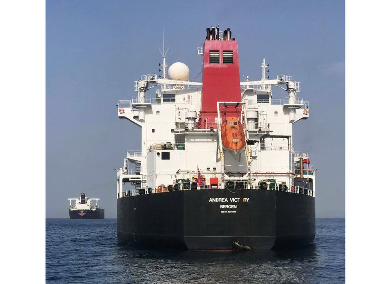 FILE - This May 13, 2019, file photo provided by the United Arab Emirates' National Media Council shows the Norwegian-flagged oil tanker MT Andrea Victory off the coast of Fujairah, United Arab Emirates. International investigators believe last month's attacks on oil tankers in a United Arab Emirates port were led by a foreign state using divers on speed boats who planted mines on the vessels. (United Arab Emirates National Media Council via AP, File)