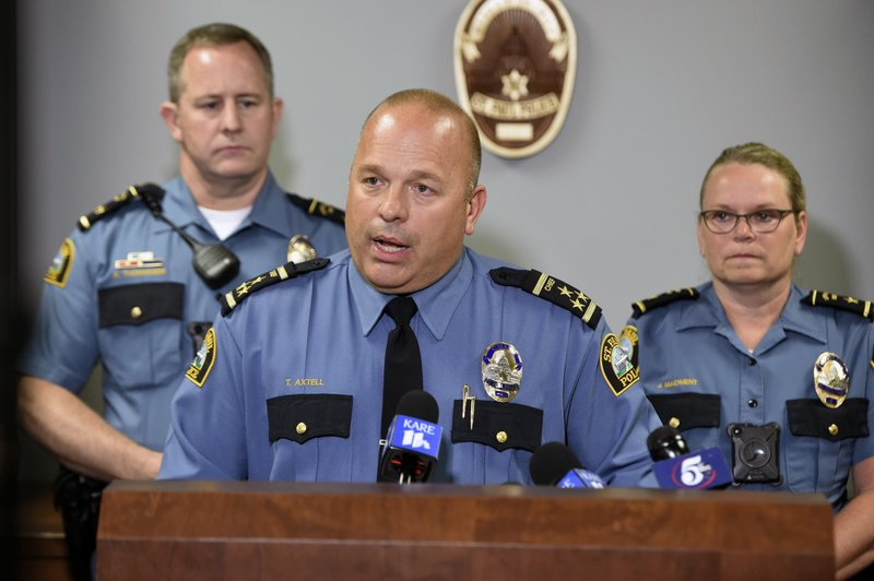 St. Paul Police Chief Todd Axtell speaks during a news conference, Thursday, June 13, 2019 in St. Paul, Minn. St. Paul's police chief has fired five officers for allegedly failing to intervene in an assault at a business. (John Autey/Pioneer Press via AP)