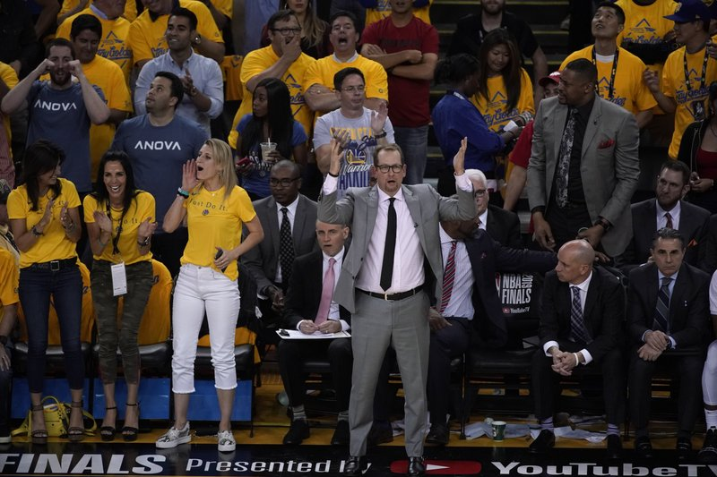 Toronto Raptors head coach Nick Nurse reacts during the first half of Game 6 of basketball's NBA Finals against the Golden State Warriors in Oakland, Calif., Thursday, June 13, 2019. (AP Photo/Tony Avelar)