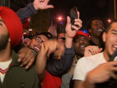 Thousands in Toronto cheered on the Raptors, who won their first NBA championship on Thursday night. The Raptors defeated the two-time defending champion Golden State Warriors 114-110 on Thursday in Oakland, in Game 6 of the NBA Finals. (June 14)