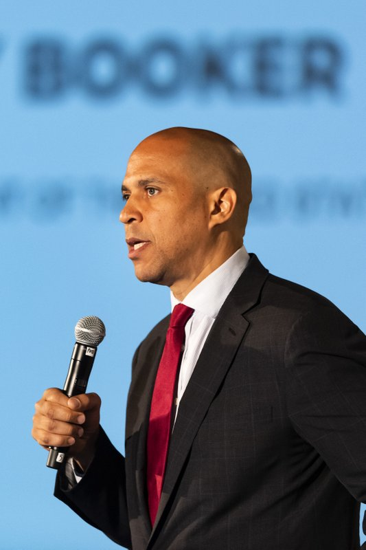 Democratic presidential candidate Sen. Cory Booker of New Jersey, speaks during the African American Leadership Council Summit, Thursday, June 6, 2019, in Atlanta. (AP Photo/John Amis)