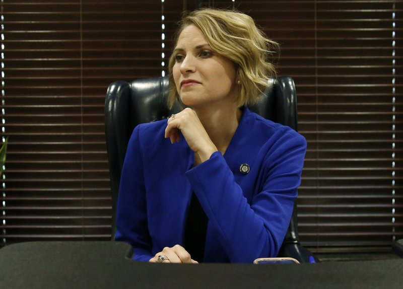 Oklahoma state Sen. Carri Hicks, D-Oklahoma City, listens to a question during an interview in her office Wednesday, May 8, 2019, in Oklahoma City. Hicks is a Democrat and former elementary school teacher who won what had been a Republican-held seat in northwest Oklahoma City last November. (AP Photo/Sue Ogrocki)