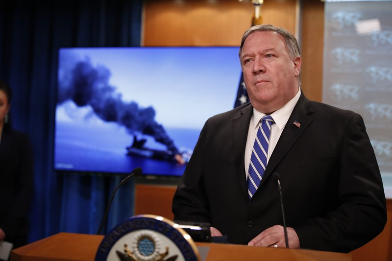 Secretary of State Mike Pompeo speaks during a media availability at the State Department, Thursday, June 13, 2019, in Washington. (AP Photo/Alex Brandon)