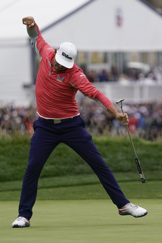 Gary Woodland celebrates after winning the U.S. Open Championship golf tournament Sunday, June 16, 2019, in Pebble Beach, Calif. (AP Photo/David J. Phillip)