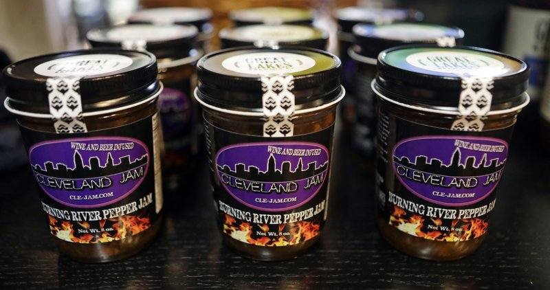 Burning River Pepper Jam is displayed on a shelf at the Great Lakes Brewing Company gift shop, Monday, June 17, 2019, in Cleveland. The