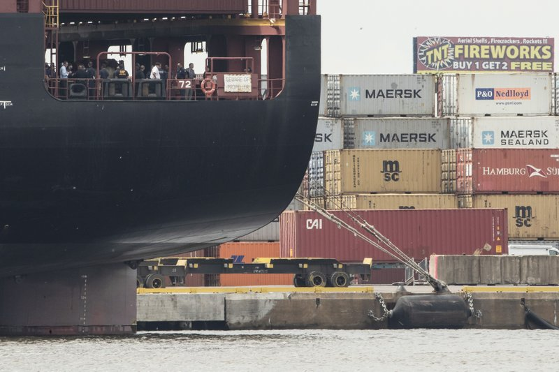 Officials gather on the decks of the MSC Gayane container ship on the Delaware River in Philadelphia, Tuesday, June 18, 2019. U.S. authorities have seized more than $1 billion worth of cocaine from a ship at a Philadelphia port, calling it one of the largest drug busts in American history. The U.S. attorney's office in Philadelphia announced the massive bust on Twitter on Tuesday afternoon. Officials said agents seized about 16.5 tons (15 metric tons) of cocaine from a large ship at the Packer Marine Terminal. (AP Photo/Matt Rourke)
