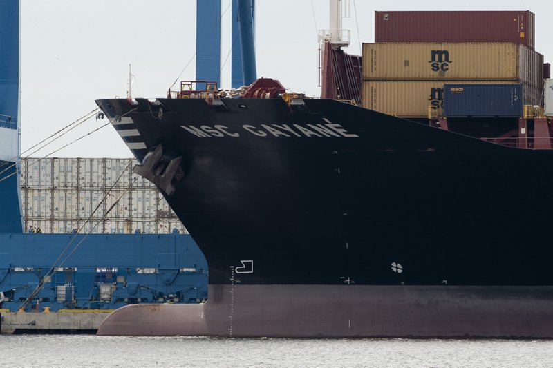 This photo shows the MSC Gayane container ship on the Delaware River in Philadelphia, Tuesday, June 18, 2019. U.S. authorities have seized more than $1 billion worth of cocaine from a ship at a Philadelphia port, calling it one of the largest drug busts in American history. The U.S. attorney's office in Philadelphia announced the massive bust on Twitter on Tuesday afternoon. Officials said agents seized about 16.5 tons (15 metric tons) of cocaine from a large ship at the Packer Marine Terminal. (AP Photo/Matt Rourke)