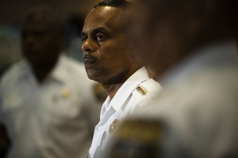 Philadelphia Police Commissioner Richard Ross listens to a question during a news conference in Philadelphia, Wednesday, June 19, 2019. (AP Photo/Matt Rourke)