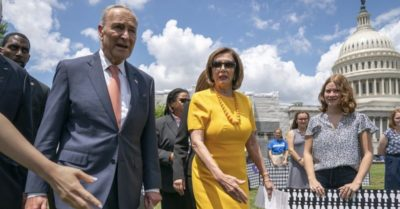 Pelosi, Schumer contradicts to U.S. justice system, calls on Trump to prove innocence