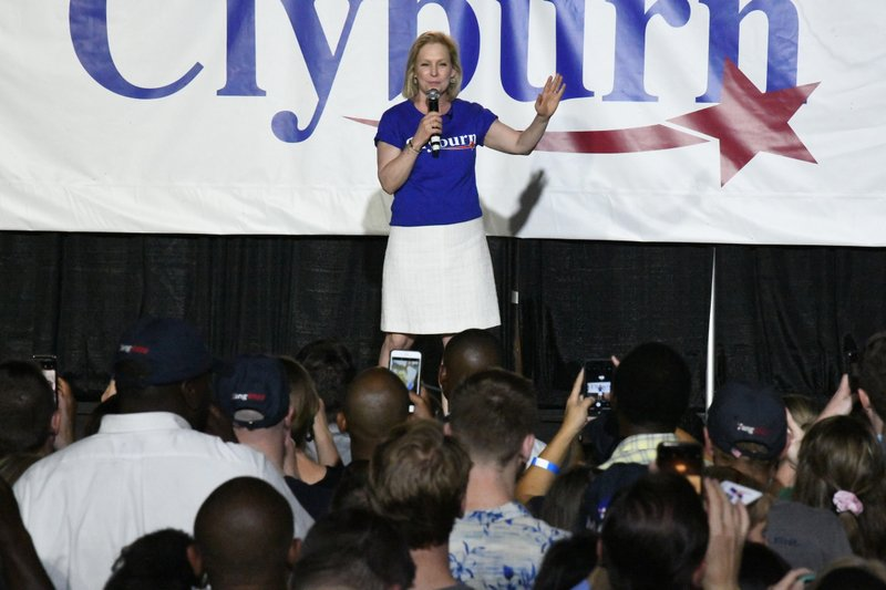 New York Sen. Kirsten Gillibrand addresses the crowd at House Majority Whip Jim Cyburn's