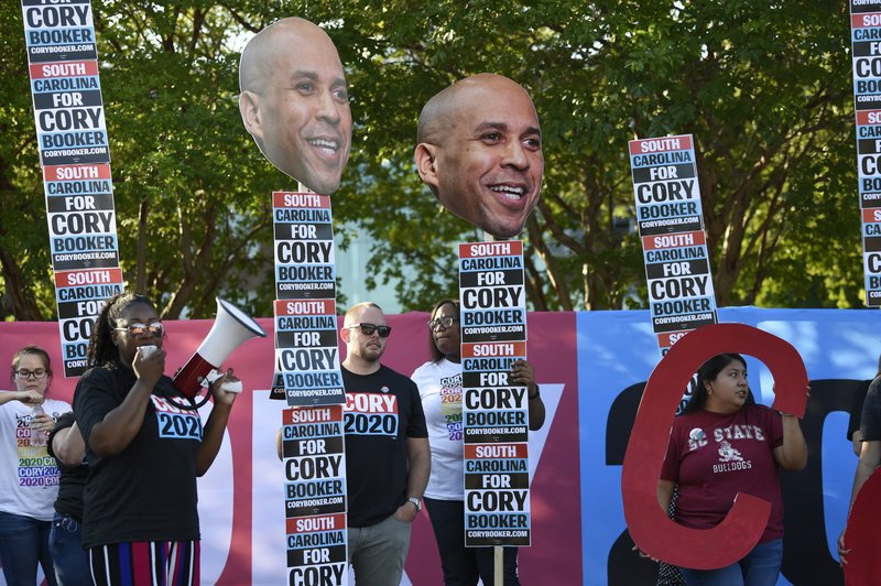 Supporters of New Jersey Sen. Cory Booker rally for the Democratic presidential hopeful ahead of Majority Whip Jim Clyburn's