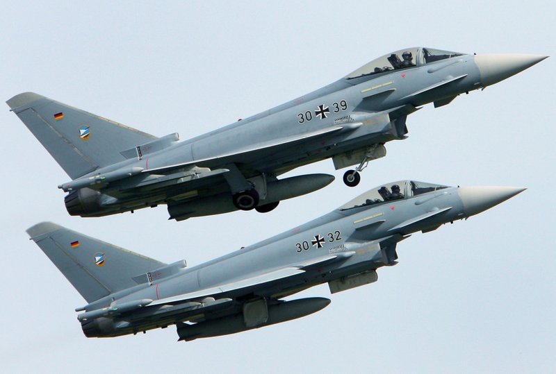 FILE - In this May 30, 2008 file photo, two Eurofighter military planes start at their base in Laage, Germany. Two German Eurofighter planes crashed today near the city of Jabel in eastern Germany. (Bernd Wuestneck/dpa via AP)